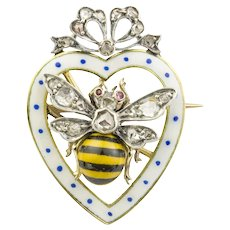 A Late Victorian Enamel And Diamond Bee Brooch