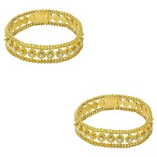 A Pair Of Victorian Half Pearl Gold Bracelets