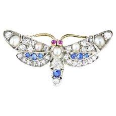 A Late Victorian Multigem Butterfly Brooch