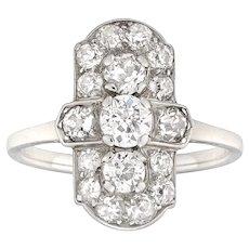 An Art Deco Diamond-set Plaque Ring