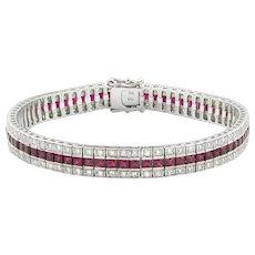 A Ruby And Diamond Three Line Bracelet