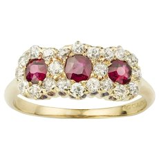 A Ruby And Diamond Triple Cluster Ring By Tiffany & Co