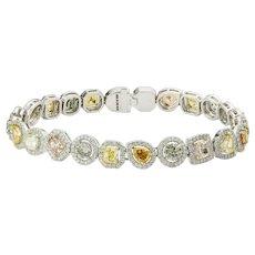 An Exquisite Multi Coloured Fancy Diamond Link Bracelet