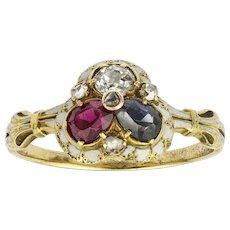 A Late Georgian Ruby, Sapphire And Diamond Enamel Ring