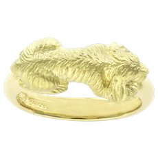 A Gold Dog Band Ring  by Bentley & Skinner