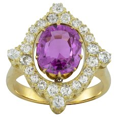A Mid 20th Century Pink Sapphire And Diamond Ring