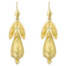 A Pair Of Victorian Gold Drop Earrings