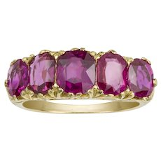 A Victorian Five Stone Burmese Ruby Ring