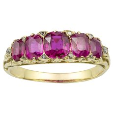 A Victorian Five Stone Ruby Ring