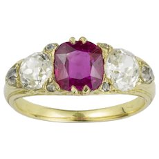 A Victorian Three Stone Ruby And Diamond Ring