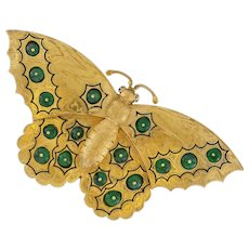 An Antique Russian Gold And Emerald Butterfly Brooch