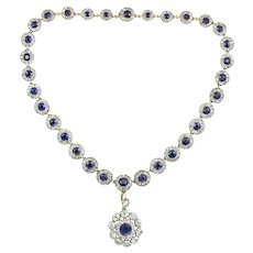 A Victorian Sapphire And Diamond Cluster Necklace
