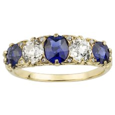 A Late Victorian Sapphire And Diamond Five Stone Ring