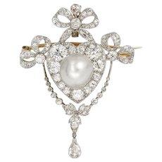 An Edwardian Pearl And Diamond Brooch/pendant