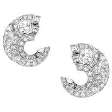 A Pair Of French Art Deco Diamond-set Scroll Ear Clips