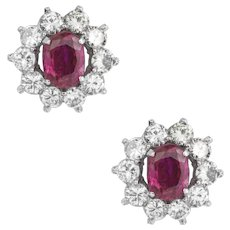 A Pair Of Burmese Rubies And Diamond Cluster Earrings