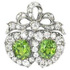 A Victorian Demantoid Garnet And Diamond Double Heart Ring