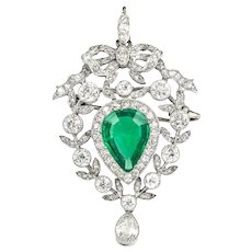 An Edwardian Emerald And Diamond Pendant/brooch