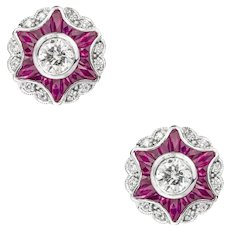 A Pair Of Diamond And Ruby Cluster Star Earrings