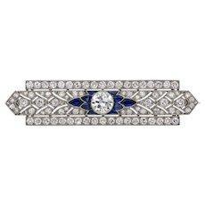 A Fine Art Deco Diamond And Sapphire Bar Brooch