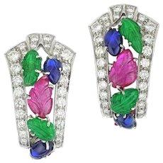 A Pair Of Tutti-frutti Clip Earrings