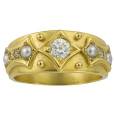 A Victorian Diamond And Pearl Yellow Gold Ring