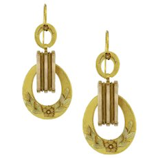 A Pair Of Victorian Yellow Gold Drop Earrings