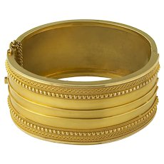 An Etruscan Revival Yellow Gold Bangle