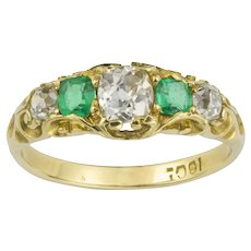 A Victorian Emerald And Diamond Five Stone Gold Ring