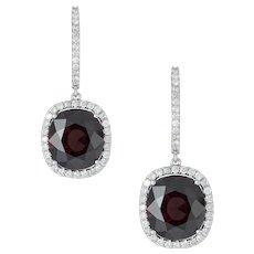 A Pair Of Garnet And Diamond Cluster Earrings