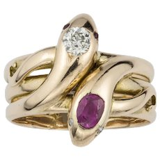 A Victorian Gold, Ruby And Diamond Twin Serpent Ring