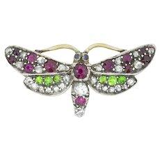 A Late Victorian Multi-gem Butterfly Brooch