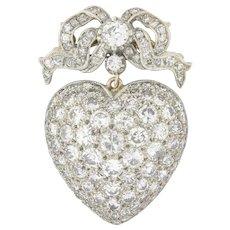 A Victorian Diamond Set Heart Pendant/brooch