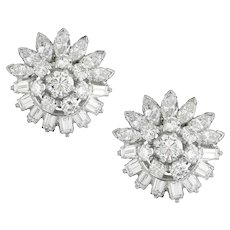 A Pair Of Mid-20th Century Diamond Earrings