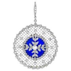 An Edwardian Diamond, Pearl And Enamel Pendant