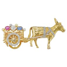 An Vintage Donkey And Cart Brooch