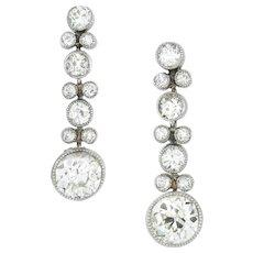 A Pair Of Edwardian Diamond Drop Earrings
