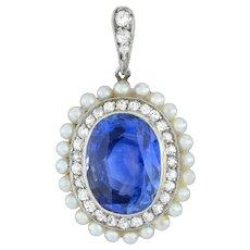 A Belle Époque Sapphire Diamond And Pearl Pendant