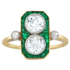 An Art-deco Emerald And Diamond Plaque Ring