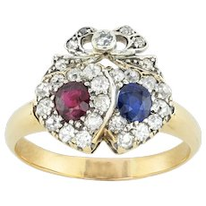 A Victorian Ruby, Sapphire And Diamond Double Heart Ring
