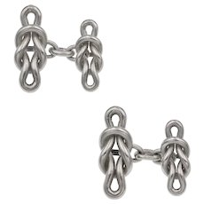A Pair Of Silver Regatta Knot Cufflinks by Lucie Heskett-Brem