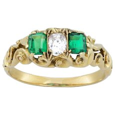 A Late Victorian Emerald And Diamond Three Stone Ring