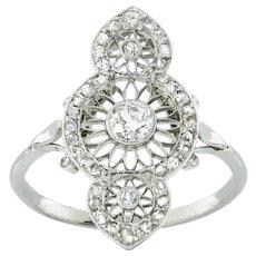 An Edwardian Diamond Openwork Plaque Ring