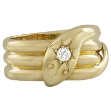 An Early 20th Century Yellow Gold Serpent Ring