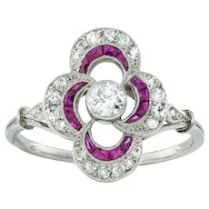 A Belle-époque Ruby And Diamond Cluster Ring