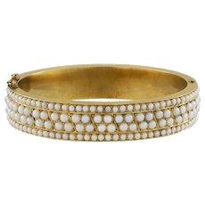 A Victorian Half-Pearl Hinged Bangle