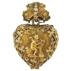 A Regency Gold Heart Locket Pendant