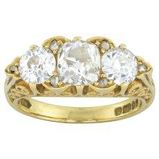 A Three-stone Diamond Victorian Style Ring