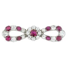 A Late Victorian Ruby And Diamond Bow Brooch