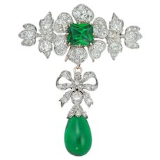 A Victorian Diamond And Green-paste Brooch